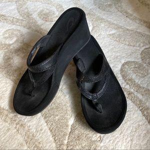 Olukai Kulapakai Wedge Sandals Black 7W